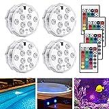 LEDGLE Poolbeleuchtung Unterwasser Led Licht wasserdichte RGB Beleuchtung mit RF Fernbedienung 10 LED Lampe für Teich Schwimmbad Garten Aquarium Whirlpool Vase Basis Party Fest Dekoration (4er Pack)