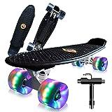 Saramond Skateboard komplett 55 cm Mini-Cruiser Retro-Skateboard für Kinder Jungen Mädchen Jugendliche Erwachsene Anfänger, LED-Blitzräder mit All-in-One Skate T-Tool (schwarz)