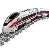 MMOC 647 Teile Hochgeschwindigkeitszug City Personenzug Baustein Modell mit Schienen, Technik Zug Eisenbahn, City Zug mit Motor, Musik und LED Beleuchtungsset Bauset Kompatibel mit Lego