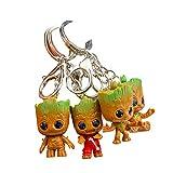 Baby Groot Schlüsselanhänger (4er Set) Schlüsselbund Keyring Keychain Metall Dekoration Merchandise - Action-Figur aus dem Filmklassiker