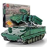 Mould King 20001 Technik Militärpanzer Bausteine 2.4Ghz RC ferngesteuert Panzer Modell mit Motor, 1689+ Teile Klemmbausteine Kompatibel mit Lego Technic Anti-Raketen-Kesselwagen Red Arrow 10