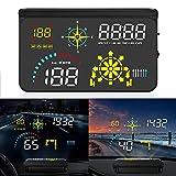 JUSTGJS 2021 Upgrade Auto Head Up Display Obd2 Hud GPS Tachometer Wasser & öl Temp RPM Windshield Hud Projektor mit Navigation