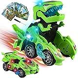 Yojoloin Dinosaurier Spielzeug,Transforme Spielzeug,Cars Auto ab 5 6 7 8 Jahre,Spielzeugauto Auto Spielzeug,Spielzeug Jungen Geschenk Jungen,Switch and Go Dinosaurier Spiel Roboter Mit Licht Musik