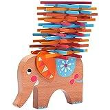 Natureich Elefant Montessori Stapel Spielzeug aus Holz zum Geschicklichkeit Lernen mit Stäbchen Bunt / Natur ab 3 Jahre für die frühe Motorik Entwicklung & Ausbildung Ihres Kindes (Orange)