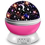 Moredig Nachtlicht Sternenhimmel Projektor, Baby Licht 360° Rotation LED Sternenlicht Lampe Sternhimmelprojektor mit 8 Farbige Lichter Projektion, Perfekte Geschenk für Babys & Kinder, Rosa
