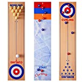 3 in 1 Curling and Shuffleboard Table-Top Game,Bowling Shuffleboard Tischset Familienspiele Compact Curling Spiel für Home Party Geschenk