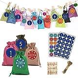 VEILTRON 2021 bunter Weihnachts-Adventskalender 24 Tage hängende Kordelzug-Süßigkeiten-Taschen