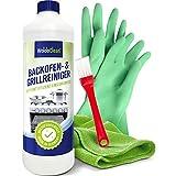 Backofenreiniger & Grillreiniger 500ml mit Pinsel, Microfasertuch und Handschuhe
