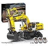 SEREIN Technik Bagger Bausteine Bausatz 2071 Klemmbausteine RC Raupenbagger mit 6 Motoren Ferngesteuert Bagger LKW Bauset BauSpielzeug, Kompatibel mit Lego Technik