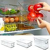 WEIYOU Kühlschrank Lebensmittel Lagerung Container Kühlschrank Organizer Bins Stapelbar Kühlschrank Lebensmittel Lagerung Box Mit Hand Küche Zubehör (Small)