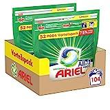 Ariel Waschmittel Pods All-in-1, 104 Waschladungen, Strahlend Rein, Umweltschonendes Waschen