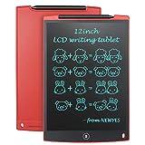 NEWYES LCD Schreibtafel 12 Zoll Maltafel, mit 2 Magnete, 1 Stift, Malen für Kinder, Kinderspielzeug ab 1 Jahr, Mädchen Geschenke 7 Jahre, Rot