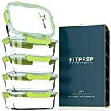 FITPREP® Frischhaltedosen aus Glas 10 teiliges Set [5 Meal Prep Boxen + 5 Deckel mit 880ml ] Premium Glasbehälter mit Lifetime Lasting Deckel - perfekte Größe für Meal Prep