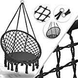 KESSER® Hängesessel 150kg mit 2 Stahlringe Sitzpolster geflochten Fransen Hängestuhl Hängekorb Schaukelkorb Garten Indoor wetterfest, wasserabweisend, Anthrazit