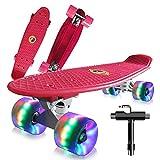 Saramond Skateboards Komplette 55cm Mini Cruiser Retro Skateboard für Kinder Teens Erwachsene Anfänger, Bunte LED-Räder mit All-in-One Skate T-Tool für Schule und Reisen (rot)