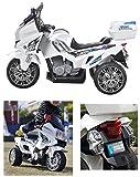 crooza US Highway Patrol Polizei Motorrad Elektro Kindermotorrad Roller Kinderfahrzeug (Weiss)