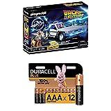 Playmobil Back to the Future 70317 DeLorean mit Lichteffekten, Ab 6 Jahren + Duracell Plus AAA Alkaline-Batterien, 12er Pack