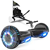 GeekMe Hoverboard mit Sitz, Elektroroller Hoverkart, Elektro Scooter Go-Kart mit Bluetooth-Lautsprecher LED-Leuchten, Geschenk für Kinder Jugendliche Erwachsen (Carbon Black+Black Kart)