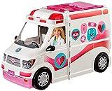 Barbie FRM19 - 2-in-1 Krankenwagen, aufklappbares Fahrzeug mit Licht und Geräuschen, Puppen Spielset mit Zubehör, Mädchen Spielzeug ab 3 Jahren, Mehrfarbig, Norme