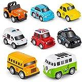RuiDaXiang Metall Zurückziehen Spielzeugautos, 8 Pack Mini Die Cast Spielzeugautos Set, Polizeiwagen/ Schulbus... Kinderspielzeug Fahrzeuge Reibung angetrieben, für 3-12 Jahre Jungen Mädchen Kinder