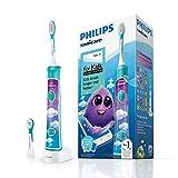Philips Sonicare Elektrische Zahnbürste für Kinder, mit Bluetooth, Coaching-App, 2 Bürstenköpfe, 2 Modi und 8 Aufklebern zur Anpassung - HX6322/04