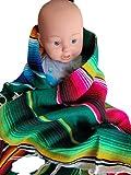 Bunte mexikanische Serape-Babydecke – Kleinkind Serape – Bettwäsche, Sherpa-Babydecke für Jungen oder Mädchen.
