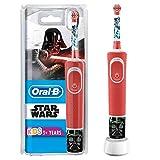 Oral-B Kids Star Wars Elektrische Zahnbürste für Kinder ab 3 Jahren, kleiner Bürstenkopf & weiche Borsten, 2 Putzprogramme inkl. Sensitiv, Timer, 4 Disney-Sticker, rot