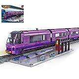 Koyae Elektrischer Zug Bausteine Bausatz mit Schienen, Lokomotive Modellbausatz mit 631 Teile Konstruktionsspielzeug Kompatibel mit Lego Technic