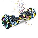 HST 6,5 Zoll Hoverboard Self-Balancing Scooters Elektroroller mit Bluetooth und LED-Beleuchtung, Offroad Waveboard für Kinder und Erwachsene (Hip Hop)