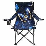 NETILGEN Tragbarer Gartenstuhl / Strandstuhl für Damen, mit Schmetterling-Motiv, Blau / goldfarben