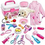 Buyger 26 Stück Tierarztkoffer mit Hund für Kinder Arztkoffer Doktorkoffer Tierarzt Spielset Hundesalon Rollenspiel Spielzeug ab 3 4 Jahre Mädchen Junge