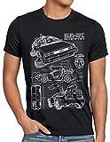 style3 DMC-12 Blaupause T-Shirt Herren Zeitreise 80er McFly Blueprint Auto Car, Größe:L, Farbe:Schwarz