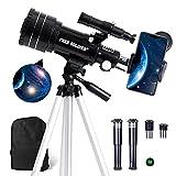 FREE SOLDIER Teleskop Astronomie für Kinder & Anfänger - 15X-150X Astronomisches Teleskop Profi für Erwachsene 70mm Fernrohr Teleskop mit mit Verstellbarem Stativ Smartphone Adapter und Mondfilter