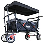 DMS Faltbarer Bollerwagen mit Dach | klappbarer Handwagen / Transportwagen | Vollgummi-Reifen | inkl. Anschallsystem für Kinder | mit Tragetasche und Bremssystemen