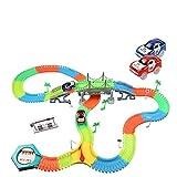 infinitoo Autorennbahn, Magic Trucks Auto Spielset, Inclusive 220 Stück Tracks & 2 E-Autos & 40 Zubehör, Rennbahn Racetrack Spielset für Kinder ab 3 Jahre Alt … (220+40pcs) (color3)