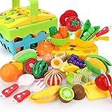 REMOKING Kinderküche Zubehör Spielzeug, Lebensmittel Spielzeug Set mit Korb, Rollenspiel Küchenspielzeug Set, Spielzeug Geschenk für Junge Mädchen Kinder ab 3 Jahre