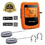 CamGo Funk Grillthermometer, Bluetooth Barbecue Thermometer, Digitales Wireless Bratenthermometer mit 2 Sonden, LCD Display und Magnetic Design, Unterstützt IOS, Android für Küche, Grill, Backen