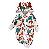 Borlai Neugeborenen-Overall aus Baumwolle, niedlicher Tierdruck, 0-18 Monate Gr. 6-12 Monate, weiß