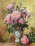 LSDEERE Malen Nach Zahlen Pinke Blumen Malen Nach Zahlen Erwachsene Anfänger Kinder DIY Ölgemälde auf Leinwand Geschenk Malen Nach Zahlen Kits- 40x50cm Ohne Rahmen
