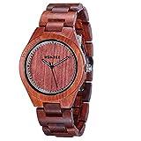 WONBEE Herren Holz Uhr Handgefertigte Analog Quarzwerk Uhren aus Holz mit Rotes Sandelholz Armbanduhr ROCO-R
