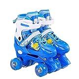 CLNAONG Roller Skates, Justierbare Rollschuhe der Kinder Full Set Flashing Inline-Skates (Color : Blue, Size : Small)