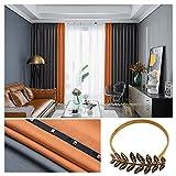 ZYY-Home curtain Spleißen Streifen Gardinen Blickdichte Orange Grau Verdicken Thermovorhang Mit Ösen Modern Vorhänge 2 Stück Für Schlafzimmer Wohnzimmer,W120xL190cm