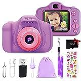 Kinderkamera, 1080P 32GB TF Mini-Digitalkamera, 2 Zoll HD Bildschirm 1080P wiederaufladbar, für Kinder im Freien, gutes Spielzeug, Geschenk für 3–12 Jahre alte Jungen und Mädchen (Lila)
