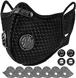 AstroAI Staubschutzmaske mit 7 Filtern & 4 Ventile, Verstellbar Waschbar Mundschutz Maske Schutzmaske Wiederverwendbar für Laufen, Radfahren, Gesichtsmaske für Damen und Herren,Schwarz
