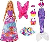 Barbie GJK40 - Dreamtopia 3-in-1 Fantasie Spielset, Puppe (blond) mit 3 Outfits und Zubehör: Fee, Meerjungfrau und Prinzessin, Spielzeug ab 3 Jahren