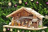 Große Weihnachtskrippe, mit Brunnen + Dekor, ca. 60 cm Massivholz historisch braun komplett mit Brunnenset - mit 12 x PREMIUM-Krippenfiguren + goldener Engel