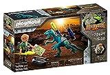 PLAYMOBIL Dino Rise 70629 Aufrüstung zum Kampf: Dinosaurier Deinonychus mit abnehmbarer Rüstung sowie funktionsfähiger Doppelkanone und Teammitglied Tüftler Uncle Rob, Ab 5 Jahren