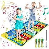 joylink Tanzmatte, Klaviermatte Musikmatte Tanzmatte Kinder Keyboard Matte Tastatur Matte Spielzeug Piano Matte Keyboard Spielteppich mit 8 Instrumenten und 10 Tasten(130*48cm) (Blau)