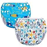 Luxja Schwimmwindel wiederverwendbar (2 Stück), Baby Schwimmhose Verstellbarer, Waschbar Schwimmwindel für Baby (0-3 Jahre), Shell + Blauer Fisch