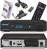 Ankaro 2100 DSR Sat Receiver mit PVR Aufnahmefunktion - HD Satelliten Receiver, USB Mediaplayer Funktion - DVB-S/S2 Receiver für Satellit - Astra Hotbird vorinstalliert, SCART, Anadol HDMI Kabel